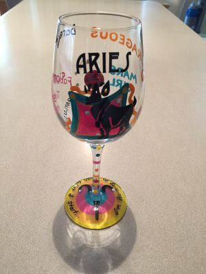 LOLITA ARIES BIRTHDAY LOVE MY WINE GLASS- COLLECTIBLE! for Sale in Chandler, AZ