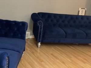 Navy blue chesterfield sofa and love seat for Sale in Harper Woods, MI