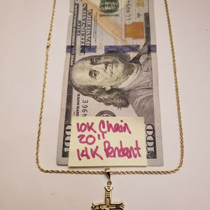 10K Solid Gold Chain and 14K Solid Gold Pendant 20 Inches for Sale in Hialeah, FL