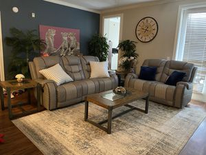Living room set grey leather. for Sale in Houston, TX