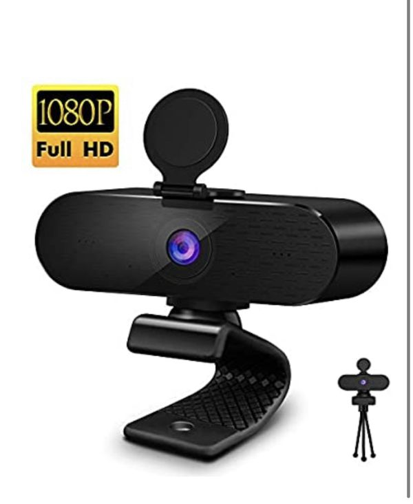 Webcam with Microphone & Privacy Cover, FHD Streaming Webcam 1080P, Wide-Angle USB Webcams Web Computer Camera for Desktop Laptop, Zoom Skype Video C