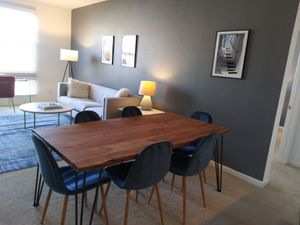 WOOD DINING TABLE AND 6 VELVET CHAIRS for Sale in Redwood City, CA