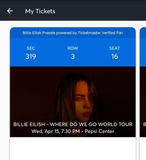 Billie Eilish Where Do We Go Tour for Sale in Sheridan, CO
