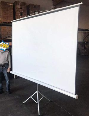 "Brand new 100"" portable projector screen 16:9 ratio wide screen with tripod pull up matte white for Sale in Los Angeles, CA"