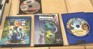 lot of 4 DVD and blu-Ray Disney Movies,Cars,Rio 2, Monsters Inc., Madagascar for Sale in Middletown, CA