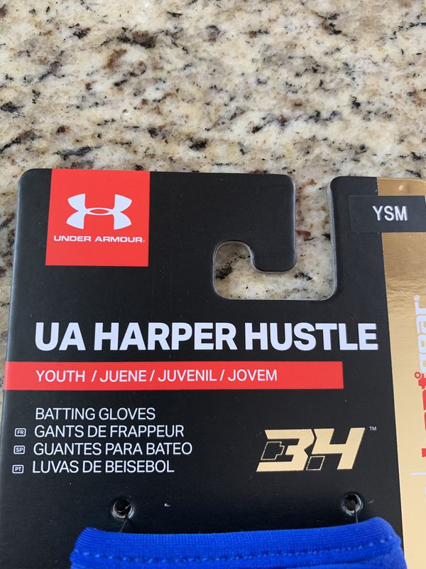 New Under Armour Harper Hustle Youth Baseball Batting Gloves Royal Blue Size Small