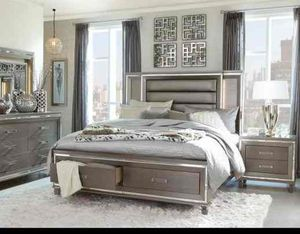 Queen bed frame. Dresser. Mirror and one night stand. Price firm. 1E for Sale in Ontario, CA