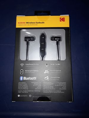 Brand new Kodak wireless earbuds hands free microphone all black for Sale in Lemon Grove, CA