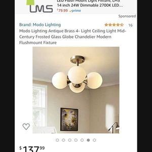 Brand New‼️ Modo Lighting Antique Brass 4- Light Ceiling Light Mid-Century Frosted Glass Globe Chandelier Modern Flushmount Fixture for Sale in Fountain Valley, CA