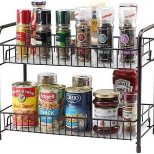 Spice Rack Organizer for Countertop 2 Tier Counter Shelf Standing Holder Storage for Kitchen Cabinet-Bronze for Sale in Diamond Bar, CA