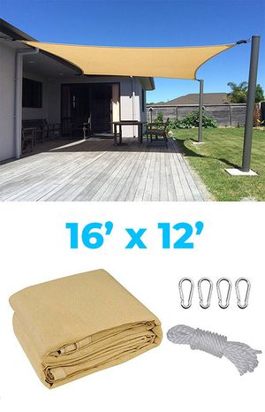 (New in box) $35 each 16x12' Rectangle Sun Shade Sail Outdoor Canopy Top Cover w/ Rope & Clips (Tan Color) for Sale in Whittier, CA