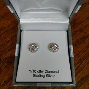 Sterling Silver Earrings with Diamonds for Sale in Burleson, TX