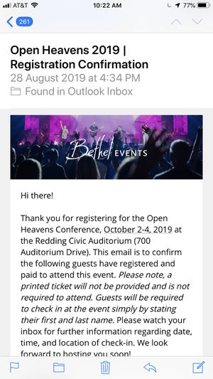 2 Tickets to SOLD OUT Bethel Open Heavens Conference for Sale in Redding, CA