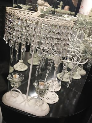 Antique white candelabra with crystals, 3 candle, 2 candle for Sale in Las Vegas, NV