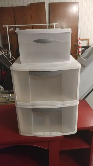 3 White Plastic Drawers for Sale in San Antonio, TX