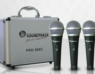 Set of three professional wired microphones. Brand New. Microphone holders and cables included. for Sale in Miami,  FL