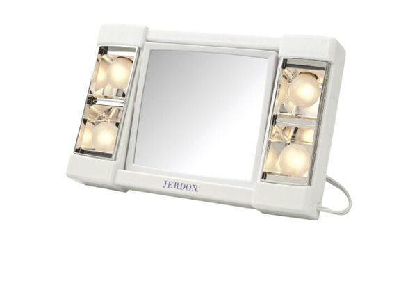 Jerdon 3X-1X Lighted Makeup Mirror White vanity mirror