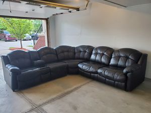 Genuine leather black sectional sofa with two recliners and sofa bed for Sale in Taylor, MI