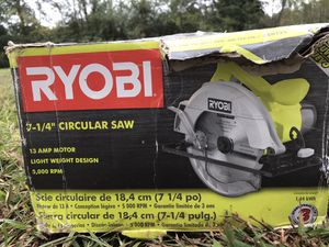 Ryobi 7/14circulars saw. Used once to build a deck.cost 60 but I'll take 40. Cost 60.00 I'll take 40.00Works great. Sill have the box it can in for Sale in Anderson, SC