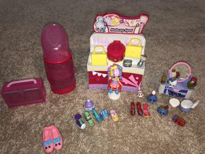 shopkins makeup spot , vanity , and shoe stop with doll for Sale in Silver Spring, MD