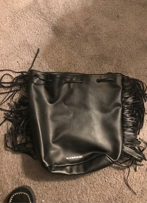 Victoria's Secret Fringed Leather One Size Black Backpack for Sale in Silver Spring, MD
