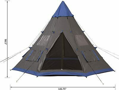 6-Person Metal Teepee Camping Tent Outdoor Use
