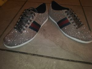 Brand new never worn gucci shoes glitter web with stud these are 100%authentic come with dust bags size 9 for Sale in Detroit, MI