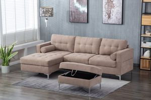 New Taupe Sectional w/ Ottoman for Sale in Puyallup, WA