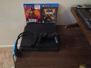PS4 with games controller and headset for Sale in Arlington, VA