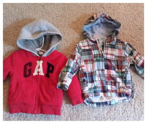 Toddler Boys 2- Baby Gap Jackets Size 18-24 Month 1- Pull Over Hooded Plaid & Denim Coat 1- Zip Up Hoodie for Sale in Denver, CO