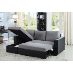NEW MODERN BAYLOR SECTIONAL SLEEPER SOFA WITH STORAGE / GREY FABRIC for Sale in King of Prussia,  PA
