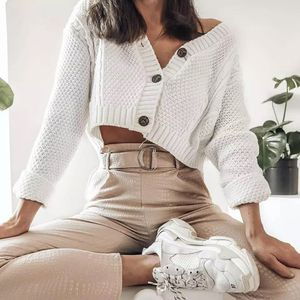 Hirigin New Chic Women Cropped Cardigan Sweater Fall Knitwear Short Cardigan Girls Long Sleeve Twist Crochet Top Pull Femme for Sale in Orlando, FL