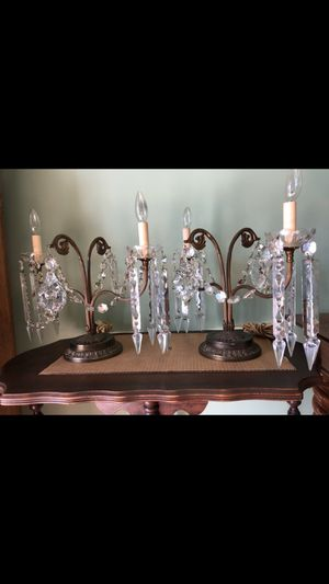Antique original cut crystal and brass candelabra table lamps for Sale in Anaheim, CA