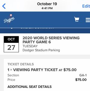 Dodger viewing party ticket for Tuesday for Sale in Los Angeles, CA