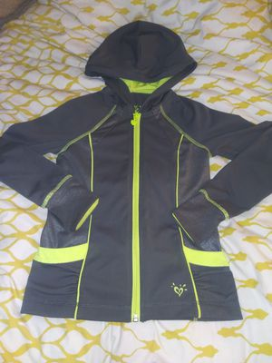 Justice Girl's Size 7 Gray Neon Yellow Zip Up Hooded Jacket Thumb for Sale in Yorktown, VA