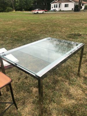 Just in time for Thanksgiving -Sleek chrome and glass dining table for Sale in Fort Washington, MD