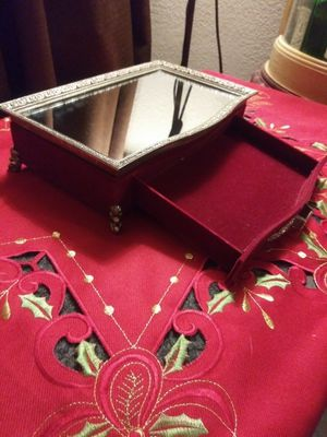 Beautiful antique jewelry box with mirror on top and red velvet on outside(lil heavy) for Sale in Pomona, CA