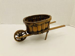 Vintage Handmade Bamboo & Twine Wheelbarrow Planter for Flowers & Plants for Sale in Spring Hill, FL