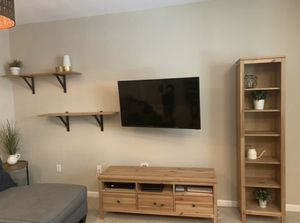 Like new, matching solid wood tv stand, book case and shelves. for Sale in North Miami Beach, FL