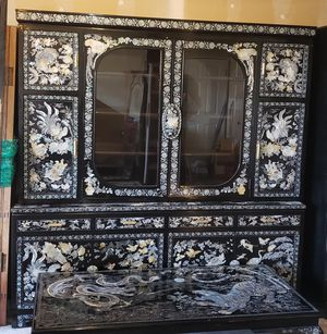 Vintage Black lacquer mother of pearl kitchenette cupboard for Sale in Seattle, WA