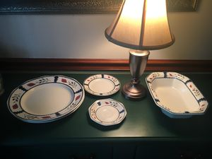 Dinner plates (2), dessert plate, saucer, serving bowl for Sale in Alexandria, VA