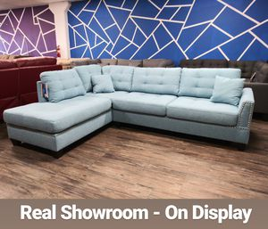 Visit Our Showroom 😁 We Finance - Light Blue Reversible Chaise Couch Sofa Sectional With Ottoman for Sale in Los Angeles, CA