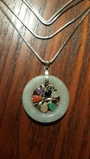 Gorgeous Sterling Silver 925 Jade pendant with necklace. for Sale in Queens, NY