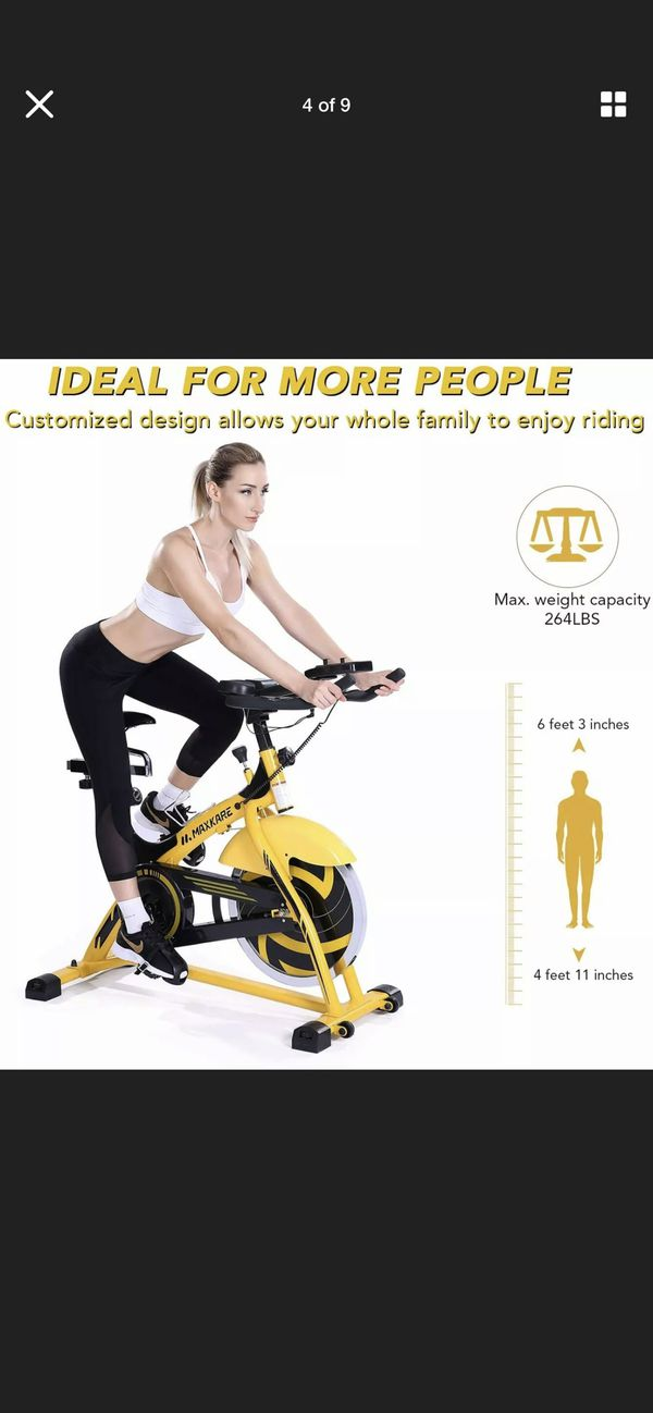 MaxKare Stationary Bike Belt Drive Indoor Cycling Bike 44lb Flywheel Home Cardio