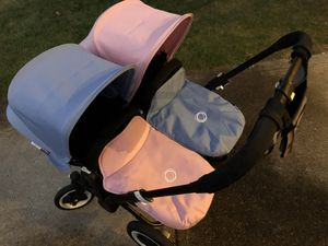 Bugaboo Donkey Duo Twin Double Stroller Seat Bassinet Accessories and Car Seat with Base and Adaptor for Sale in Parma, OH