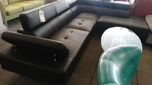 Black leather sectional sofa for Sale in Phoenix, AZ