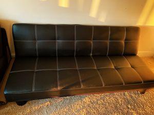 Quinn futon sofa in black leatherette for Sale in Charlotte, NC