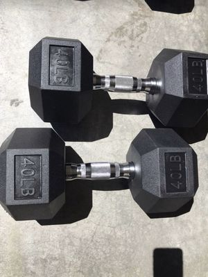 New Pair of 40lb Hex Rubber Dumbbells for Sale in SeaTac, WA