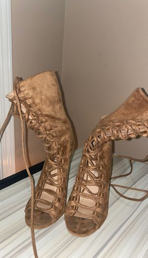 Over the ankle nude lace up heels for Sale in Donaldsonville, LA