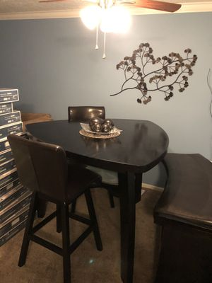 Hi top kitchen/dining room table with two swivel chairs and a bench. Espresso color for Sale in Moon, PA